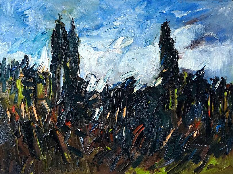 Landschaften, Öl auf Leinwand, Detlev Foth, Landschaftsmaler, Düsseldorf, Künstler in Düsseldorf, Art Düsseldorf, Zeitgenössische Kunst, Ölmalerei, Der Garten, Bäume