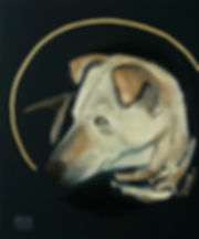 Hundeporträts, Tierporträts, Ioana Luca, heilige Tiere, Linda, Kopf einer Hündin, Öl und Blattgolg auf Leinwand, Tiermaler in Düsseldorf, Köln