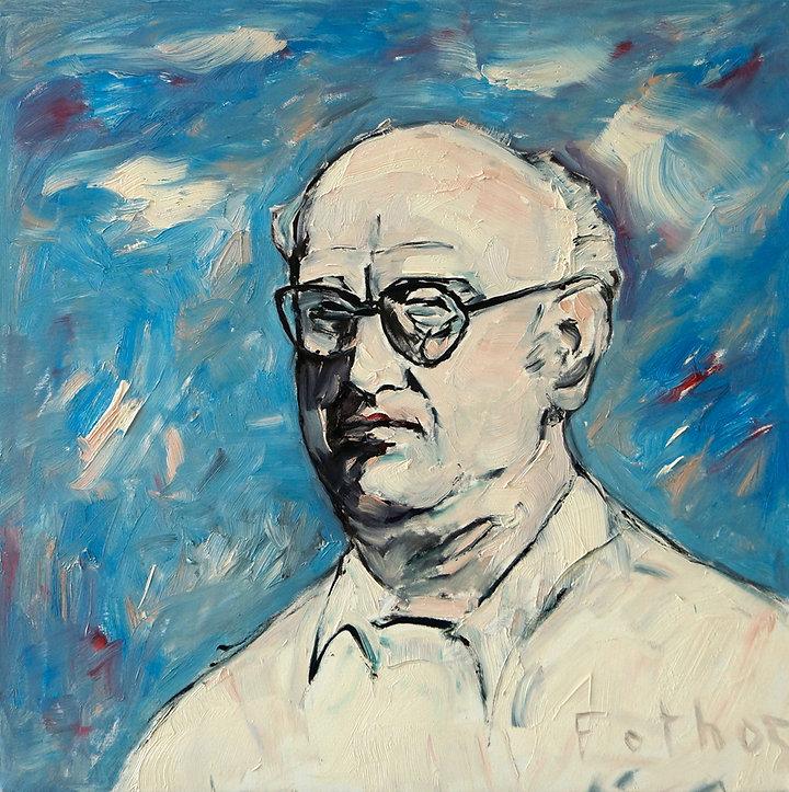 Detlev Foth, Porträtmaler Düsseldorf, Schriftstellerporträts, Petros Markaris Portrait, Porträtauftrag Düsseldorf, Ölbild, Gemälde