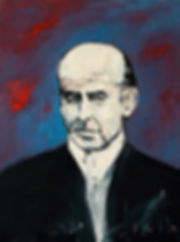 Detlev Foth, Porträtmaler Düsseldorf, Schriftstellerporträts, Gottfried Benn Porträt, Porträtauftrag Düsseldorf, Ölbild, Gemälde