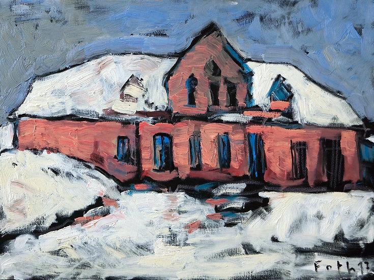 Detlev Foth, Maler, Düsseldorf, Architekturbild, Haus, Hof, Ankelohe, Winterlandschaft