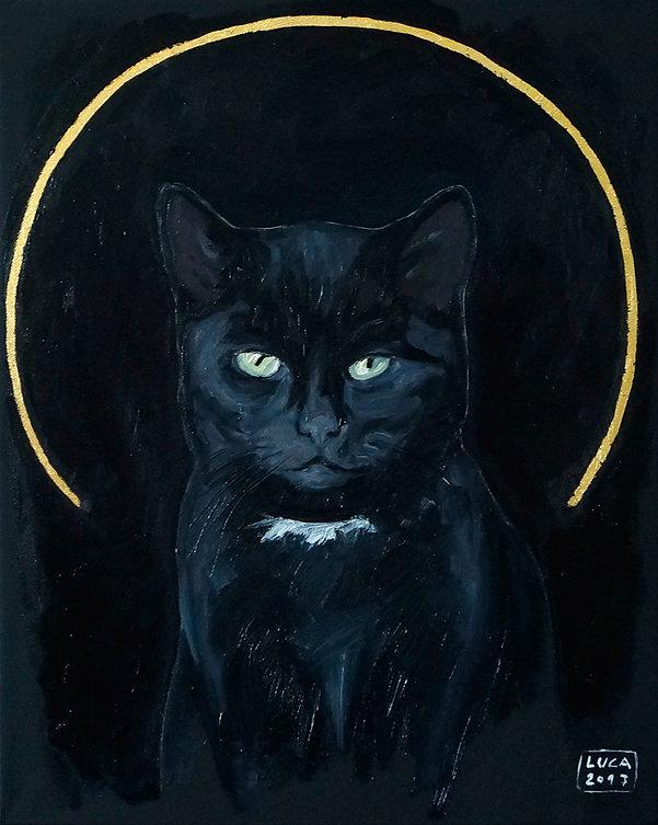 Ioana Luca, Tierporträts, Katzenporträts, Ölbild, schwarze Katze, die erste Katze, heilige Tiere, Tiermaler in Düsseldorf, Köln