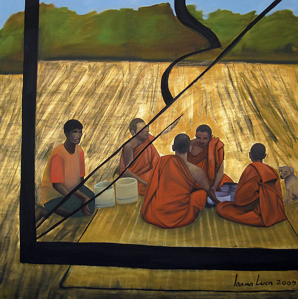 buddhistische mönche, Ölbild, Ioana Luca