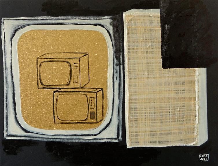 Ioana Luca, Rumänische Künstler, Romanian Art, Papyrus, Glitzerpapier, Öl auf Leinwand, Collage, Kunst in Düsseldorf