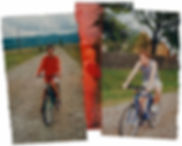 Matius Ichim, Fahrradtour in Rumänien, Moldova, Landschaften, Karpaten, Dorf, Fotocollage, rumänische Kunst, Ioana Luca