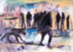 Detlev Foth, Figurenbild, Ölbild, Kunst, Düsseldorf, Kirchfeldstraße, Menschen, Hund
