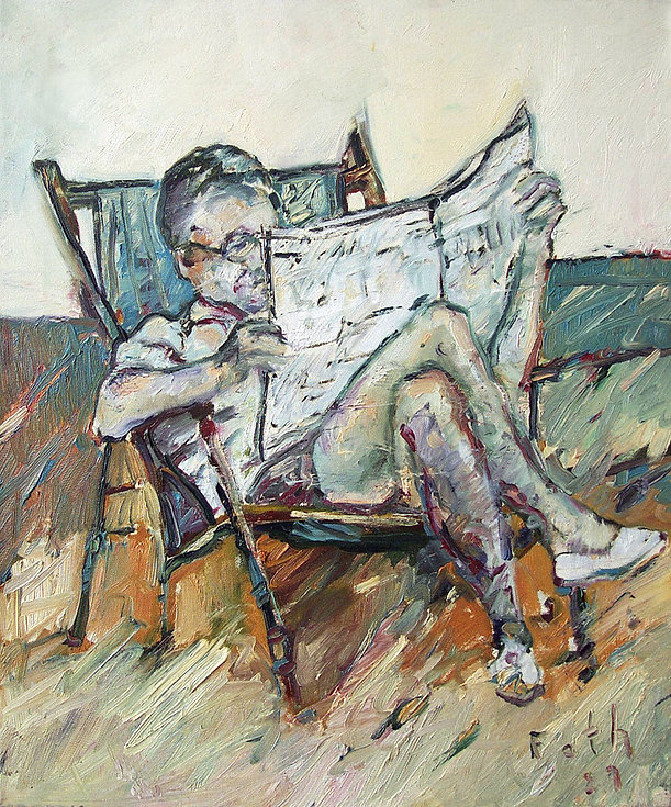 Detlev Foth, Figurenbild, Ölbild, Kunst, Düsseldorf, Mann, Zeitungsleser, im Garten