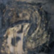 ioana luca, ölbild auf holz, schwarz, gold, gesicht