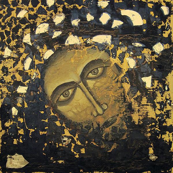 ioana luca, ölbild auf holz, schwarz, gold, gesicht, ikone