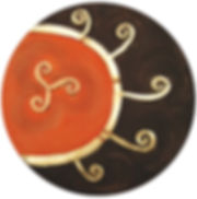 ioana luca, ölbild auf holz, sonne, gold, daker, symbol