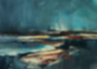 Landschaften, Öl auf Leinwand, Detlev Foth, Landschaftsmaler, Düsseldorf, Künstler in Düsseldorf, Art Düsseldorf, Zeitgenössische Kunst, Ölmalerei, Bucht, Regen