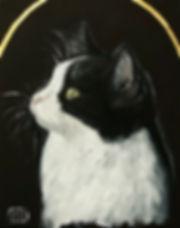 Ioana Luca, Tierporträts, Katzenporträts, heilige Tiere, Katze, Ölbild, Öl und Blattgold auf Leinwand, ein Katzenporträt, Prinţesa, Tiermaler in Düsseldorf, Köln
