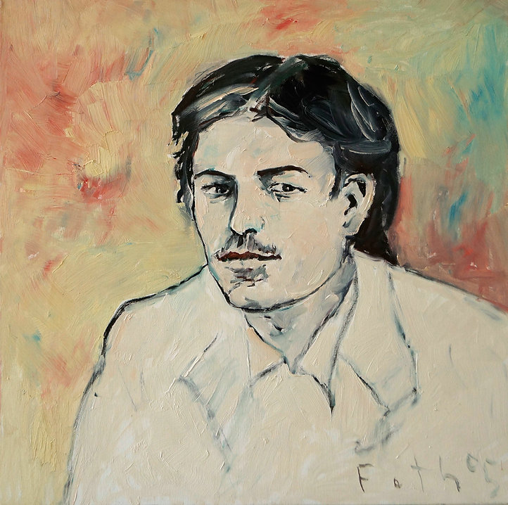 Detlev Foth, Porträtmaler Düsseldorf, Schriftstellerporträts, Anton Tschechow als junger Mann, Porträtauftrag Düsseldorf, Ölbild, Gemälde