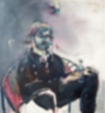 Detlev Foth, Figurenbild, Ölbild, Kunst, Düsseldorf, Gruppe, Menschen, Kahn, Ufer