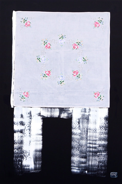 Ioana Luca, Textilcollage, Heidemarie, Textil, Öl, Leinwand, Düsseldorf, Kunst