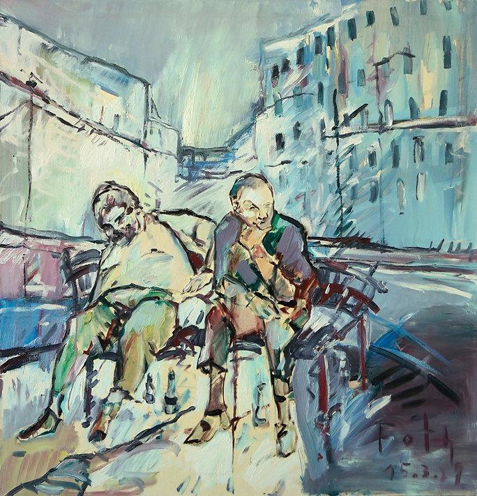 Detlev Foth, Figurenbild, Ölbild, Kunst, Düsseldorf, Malerei, Männer, Trinker, Straße