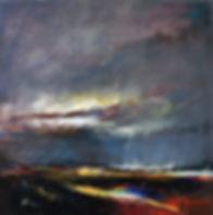 Landschaften, Öl auf Leinwand, Detlev Foth, Landschaftsmaler, Düsseldorf, Künstler in Düsseldorf, Art Düsseldorf, Zeitgenössische Kunst, Ölmalerei, Felder, Unwetter