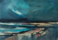 Landschaften, Öl auf Leinwand, Detlev Foth, Landschaftsmaler, Düsseldorf, Künstler in Düsseldorf, Art Düsseldorf, Zeitgenössische Kunst, Ölmalerei, Bucht, Wind