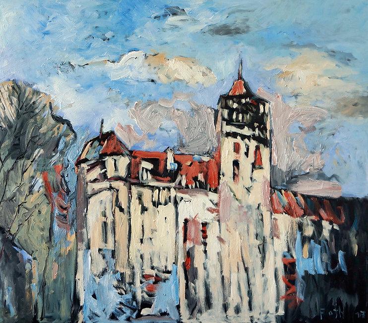 Schloss Bran, Rumänien, Ölbild, Gemälde, Dämmerung, Malerei, Detlev Foth