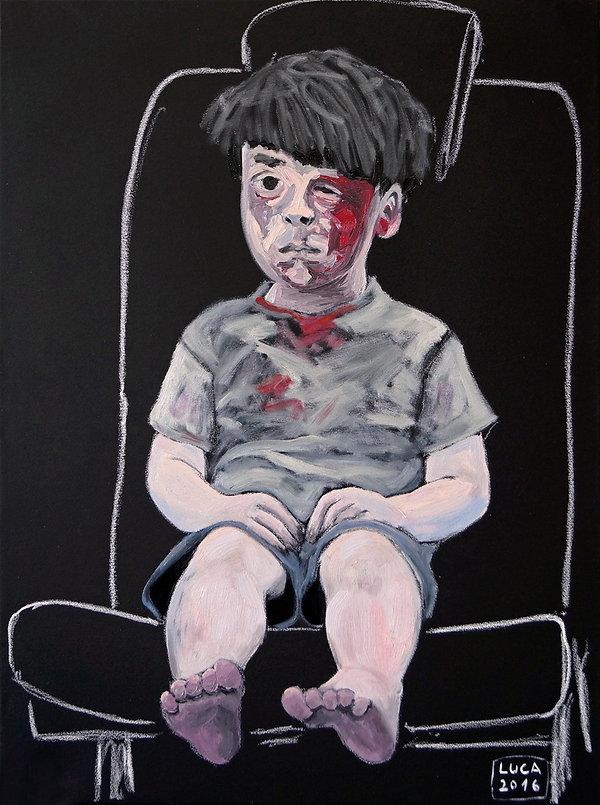 Ioana Luca, Malerei, Kunst, Düsseldorf, Künstlerin, der kleine Omran, Kind, Junge, verletztes Kind, nach Bombenagriff, Gemälde, Ölbild