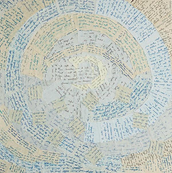 Collage auf Leinwand, Briefe, Ioana Luca