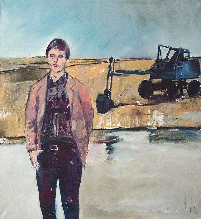 Detlev Foth, Figurenbild, Ölbild, Kunst, Düsseldorf, Selbstporträt, Mann mit Bart und Brille