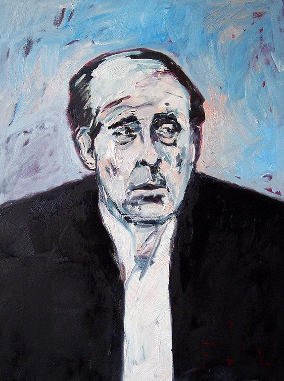 Detlev Foth, Porträtmaler Düsseldorf, Schriftstellerporträts, Heinrich Böll Porträt, Öl auf Leinwand, Porträtauftrag Düsseldorf, Ölbild, Gemälde