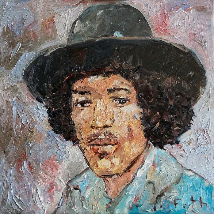 Portätmalerei, Ölbild, Jimi Hendrix, Porträt, Musiker, Detlev Foth, Maler, Düsseldorf