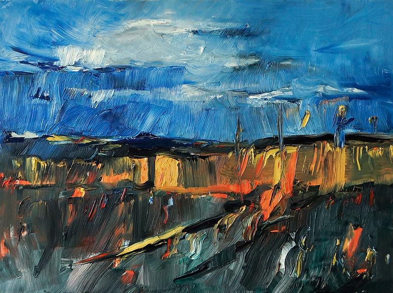 Landschaften, Öl auf Leinwand, Detlev Foth, Landschaftsmaler, Düsseldorf, Künstler in Düsseldorf, Art Düsseldorf, Zeitgenössische Kunst, Ölmalerei, Kornfeldern