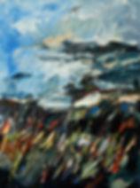 Landschaften, Öl auf Leinwand, Detlev Foth, Landschaftsmaler, Düsseldorf, Künstler in Düsseldorf, Art Düsseldorf, Zeitgenössische Kunst, Ölmalerei, Felder, Sommerlandschaft
