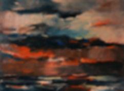 Landschaften, Öl auf Leinwand, Detlev Foth, Landschaftsmaler, Düsseldorf, Künstler in Düsseldorf, Art Düsseldorf, Zeitgenössische Kunst, Ölmalerei, Abendrot, Rhein
