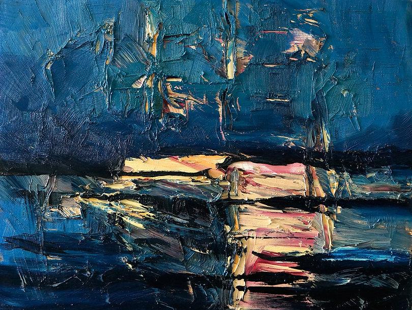 Landschaften, Öl auf Leinwand, Detlev Foth, Landschaftsmaler, Düsseldorf, Künstler in Düsseldorf, Art Düsseldorf, Zeitgenössische Kunst, Ölmalerei, Fluss, Spiegelungen, Rhein