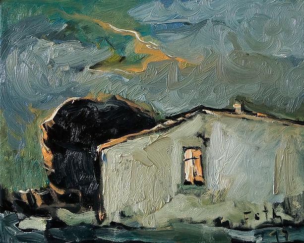 Unterschlupf, Detlev Foth, Öl auf Leinwand, Ölmalerei, Künstler in Düsseldorf, Haus, Gemälde