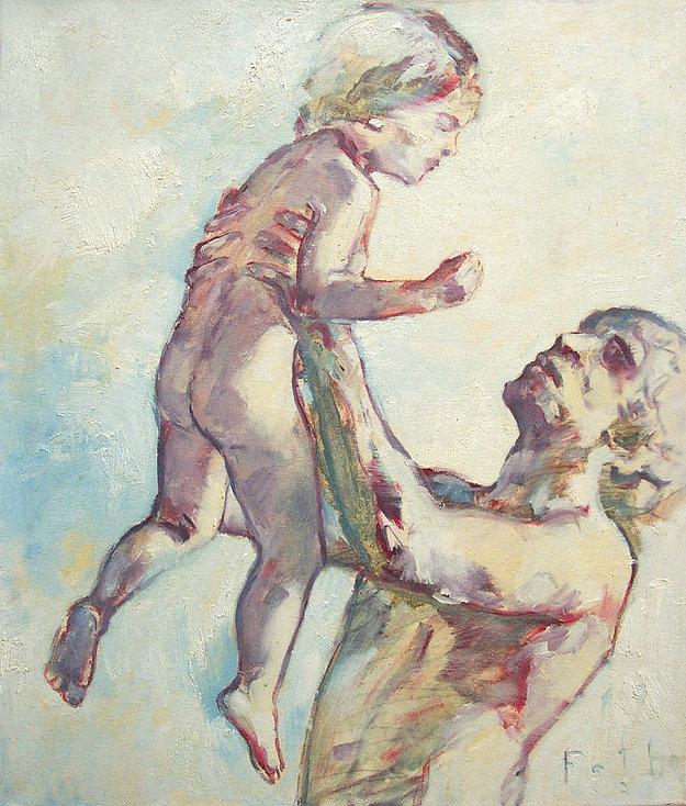 Detlev Foth, Figurenbild, Ölbild, Kunst, Düsseldorf, Mann, Vater, Kind