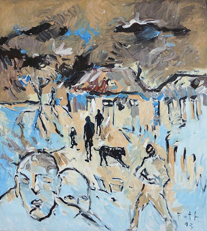 Detlev Foth, figurative Malerei, Straßenszene, Bauernszene, Menschen und Tiere, Gemälde, Ölbild