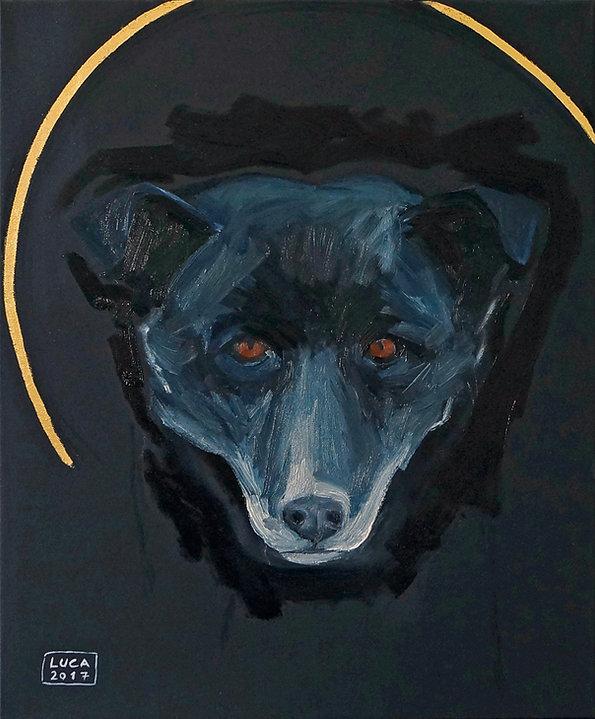 Hundeporträts, Tierporträts, Tiermaler in Düsseldorf, Köln, schwarzer Hund, Lus, heilige Tiere, Heiligenschein, Öl und Blattgold auf Leinwand