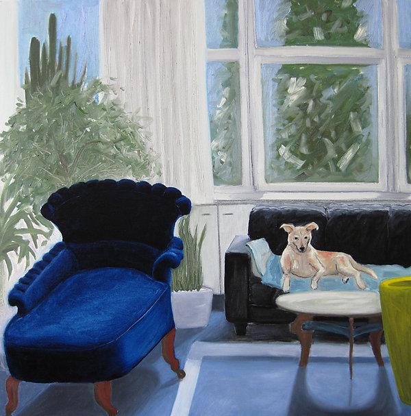 Interieur mit Hund und blauer Chaiselongue, Ioana Luca, malerei, ölbild, gemälde, künstlerin, düsseldorf, atelier