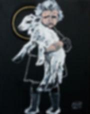Ioana Luca, Tiermaler, Tierporträts, Kinderporträts, Mädchen mit Lamm, Lamm Gottes, heilige Tiere, Ölbild, Blattgold, Heiligenschein, Künstler in Düsseldorf, Köln
