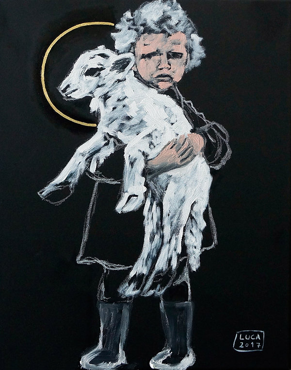 Ioana Luca, Mädchen mit Lamm, Gemälde, Ölbild, Bild, Malerei, Kinderporträts, Tierporträts, heilige Tiere, Heiligenschein, Blattgold, Öl, Leinwand, rumänische Künstler in Deutschland, osteuropäische Künstler, Düsseldorf