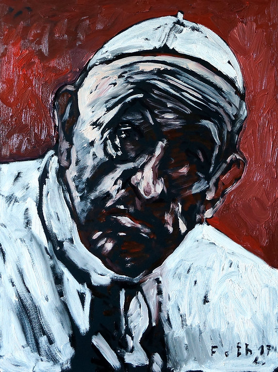 Detlev Foth, Künstler in Düsseldorf, Maler, Papst Franziskus Porträt, Ölbild, Gemälde
