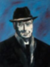 Detlev Foth, Porträtmaler Düsseldorf, Schriftstellerporträts, Julien Green Portrait, Painting, Porträtauftrag Düsseldorf, Ölbild, Gemälde, Mann mit Hut