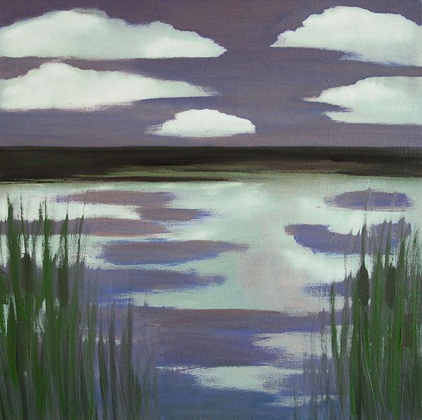 Landschaft, Wasser, Ölbild, Ioana Luca