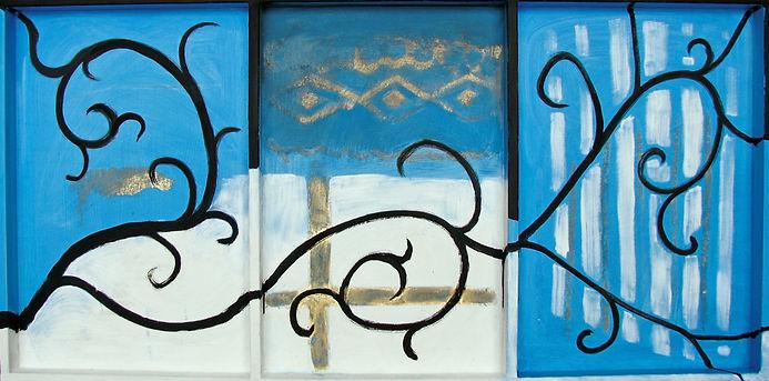 ölbild auf holz, blau, ioana luca