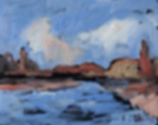 Detlev Foth, Horizonte, Kanal, Bederkesa, Landschaften, Kleinformatige Bilder, Ölmalerei, Künstler in Düsseldorf