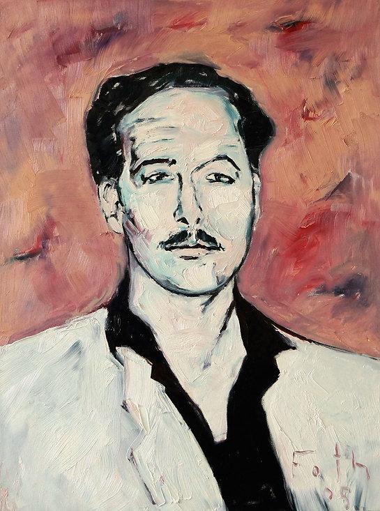 Detlev Foth, Porträtmaler Düsseldorf, Schriftstellerporträts, Tennessee Williams Portrait, Öl auf Leinwand, Porträtauftrag Düsseldorf, Ölbild, Gemälde