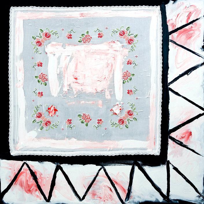 Ioana Luca, Textil, Öl, Leinwand, Textilcollage, Erdbeersahne, Gertrud, Kunst, Düsseldorf