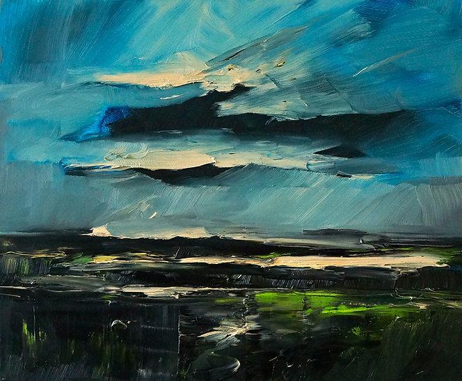 Landschaften, Öl auf Leinwand, Detlev Foth, Landschaftsmaler, Düsseldorf, Künstler in Düsseldorf, Art Düsseldorf, Zeitgenössische Kunst, Ölmalerei, Feld, Maigrün