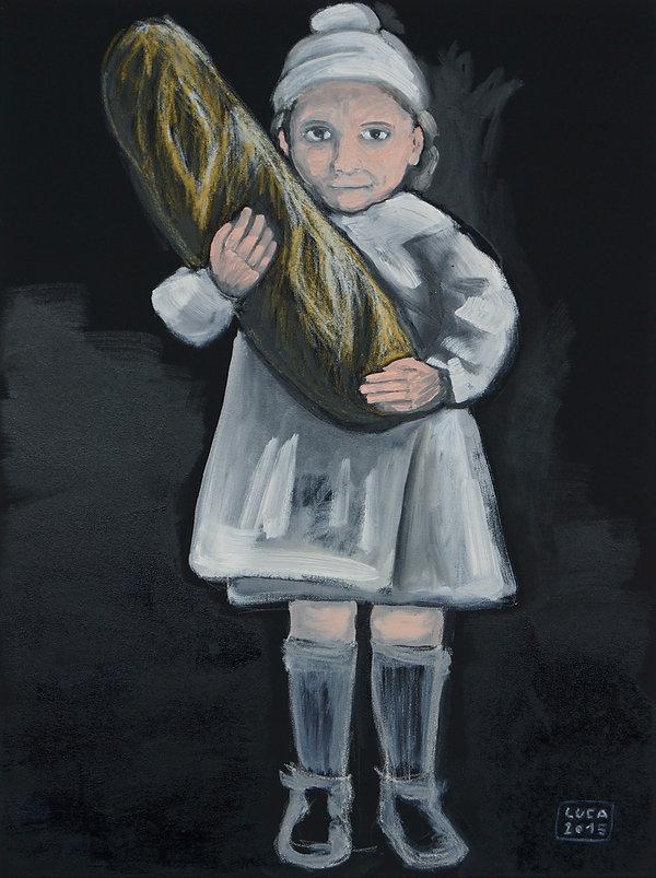 mädchen, kind, brot, ioana luca, ölbild, gemälde, porträt, figurative malerei, leinwand, künstlerin, düsseldorf