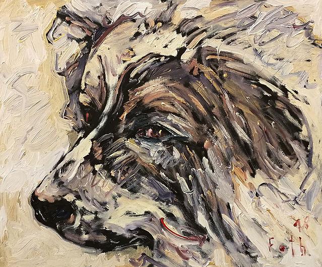 Detlev Foth, Porträtmalerei, Porträtmaler in Düsseldorf, Hundeporträt, Tierporträts, Hund, Lucky, Öl auf Leinwand, german artist, Künstler in Düsseldorf
