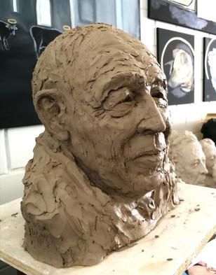 Porträtbüste Heiner Geißler, Tonplastik, Ioana Luca, Bildhauerin Düsseldorf